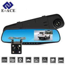 E-ACE Full HD 1080 p Cámara Dvr Auto 4,3 pulgadas retrovisor espejo Digital Video Recorder doble lente Registratory Camcorder