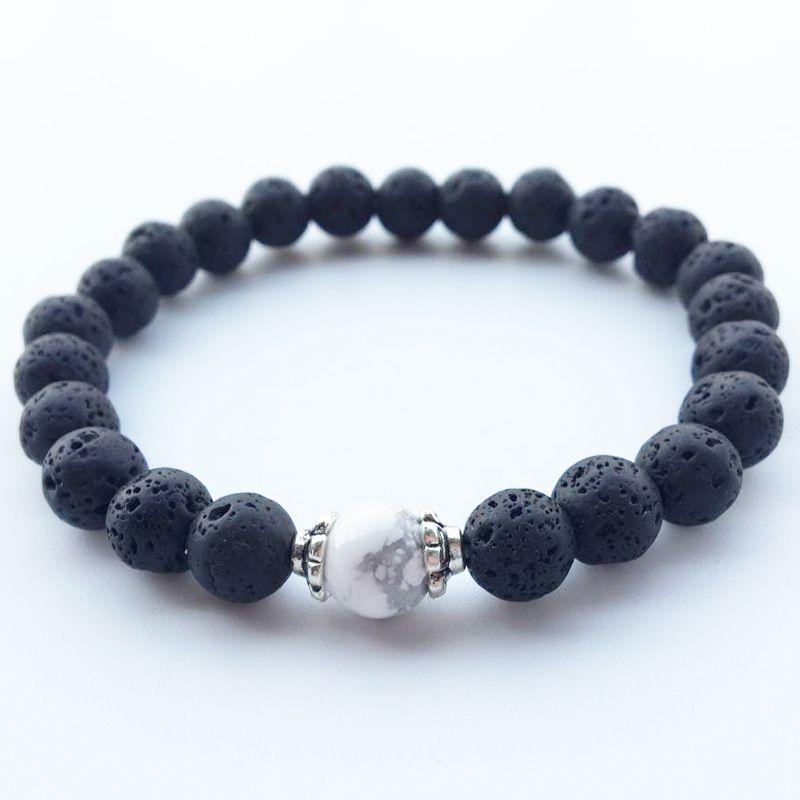 Bracelet Men Women Charm Elastic Blue Lava Healing Balance  Adjustable Rope Natural Stone Beads Yoga Strand Bracelets