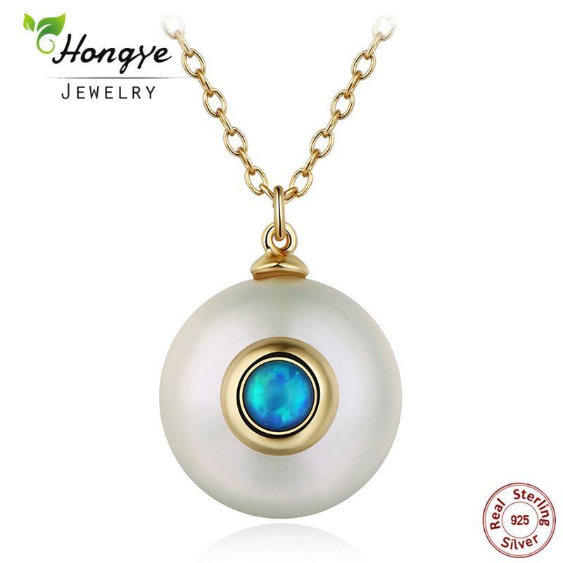 Hongye 2018 Nouvelle Mode Perle D'eau Douce Collier Femmes 925 Chaîne En Argent Sterling 12mm Perle Pendentif Bijoux Collier Pour Le Cadeau