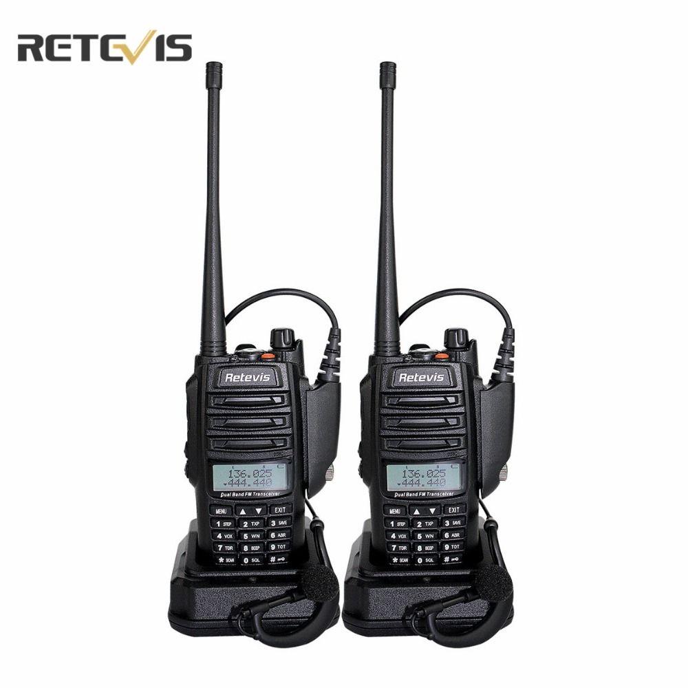 2 pcs Walkie Talkie Retevis RT6 IP67 Waterproof Anti-dust Dual-Band 5/3/1W VHF UHF 136-174/400-520Mhz FM Radio Comunicador A9114