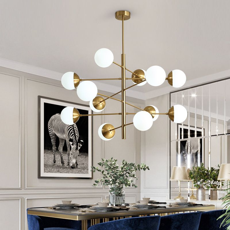 8/10/12 Heads Postmodern Loft Molecular Pendant Light Art Creative Designer Glass Ball Villa Hotel Hall Led Hanging Lights EMS