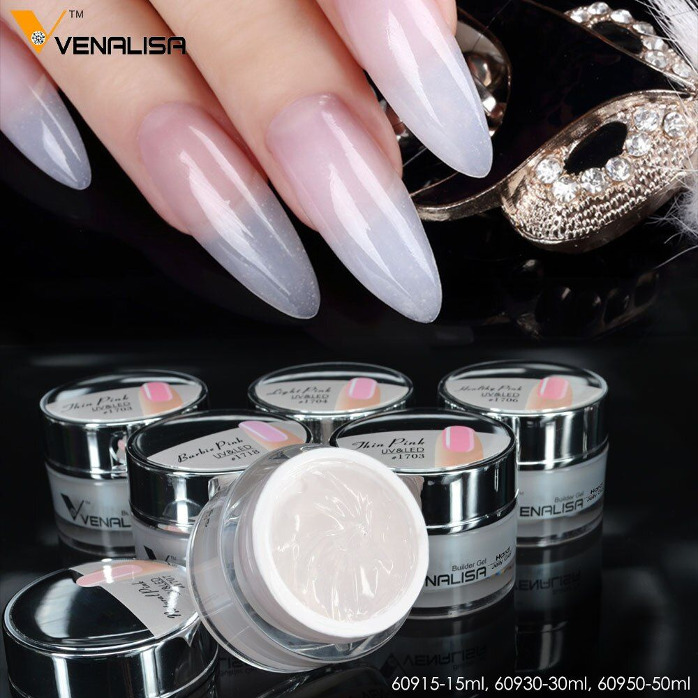 Venalisa Extension UV Gel Nail Couverture Rose Camouflage UV Gel 30 ml CANNI Camouflage Poudre Acrylique Nail UV Gelée Construire poly Gel