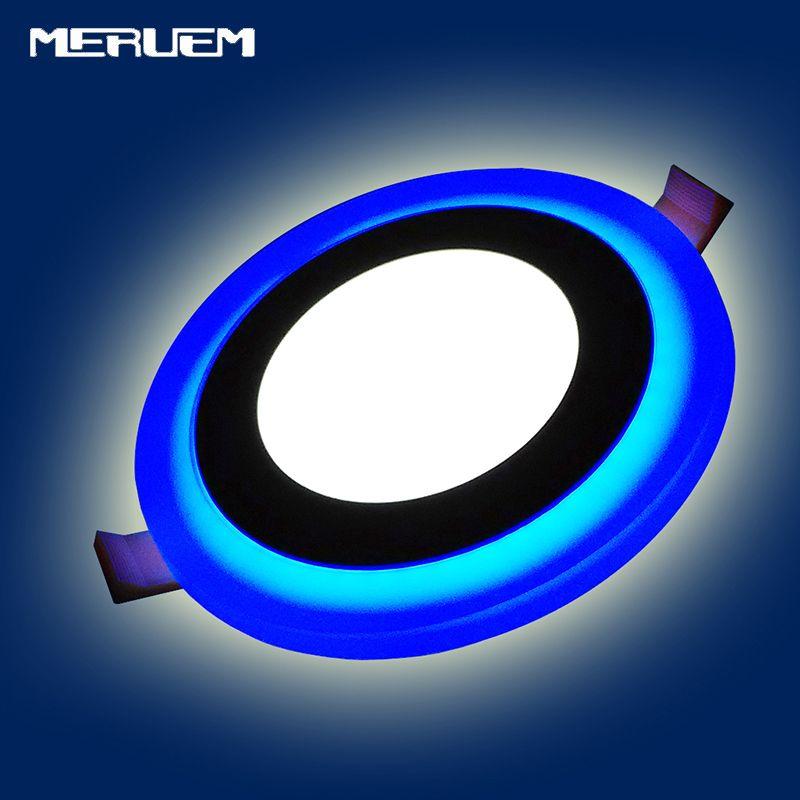 Double Couleur LED ronde Panneau Downlight 5 W 9 W 16 W 24 W, 3 Modes panneau lumineux LED AC85-265V Encastré Plafonniers ROHS