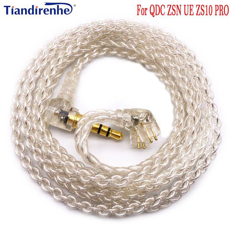 Nouveau câble 4 brins 0.78mm 2 broches pour UE QDC KZ ZSN ZS10 PRO écouteurs avec prise 3.5mm écouteurs pour u18 11pro 10pro 7pro 4pro