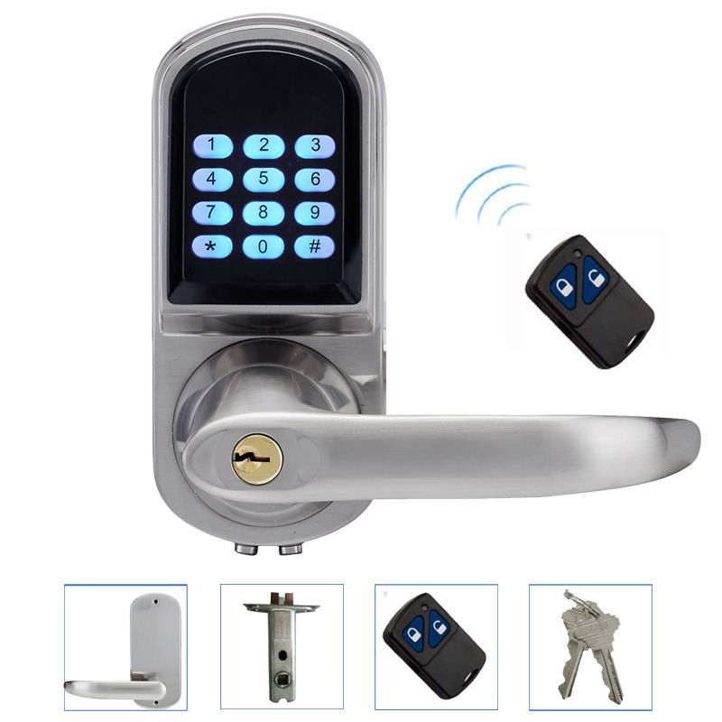 Electronic Door Lock Remote Control, Password, 2 Mechanical Keys Keypad Digital Code Lock Keyless Smart Entry lk200BSRM