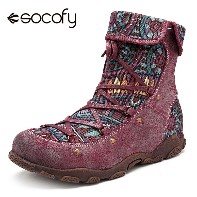 Socofy Printed Genuine Leather Winter Boots Women Shoes Vintage Motorcycle Ankle Boots Tenis Woman Shoes Autumn Winter 2018 Bota