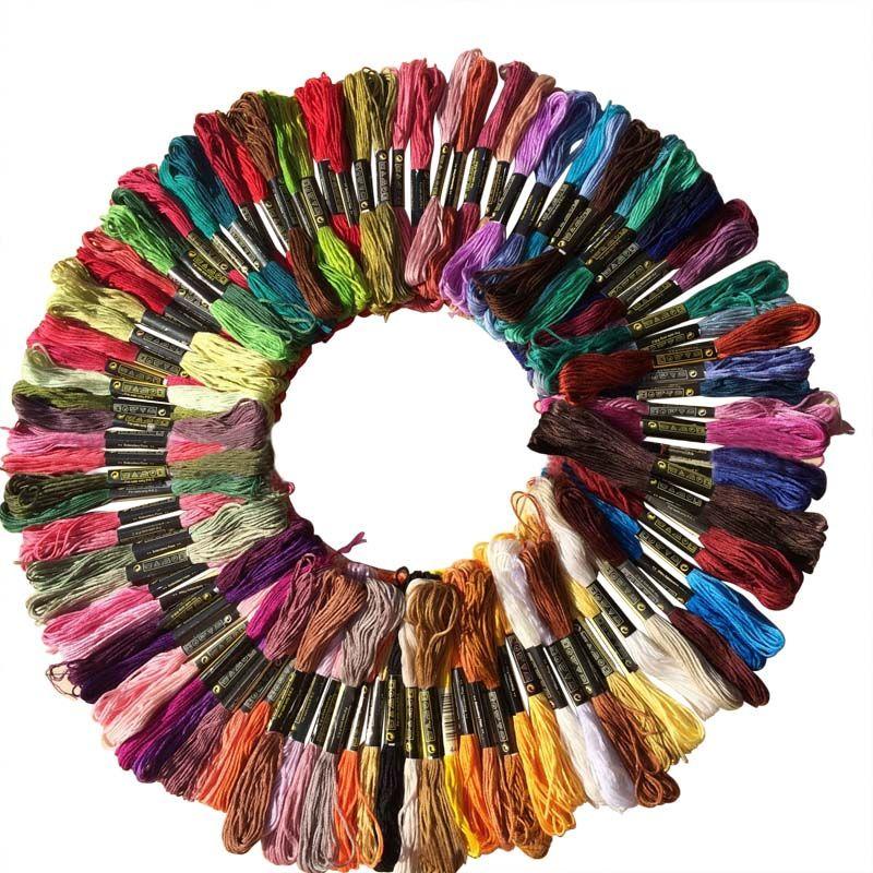 Nouveau 100 Pcs Multicolore Aléatoire DMC Fil de Coton Fil de Broderie de Soie À Coudre Écheveaux Artisanat Tricot Spiraea Dropshipping Chaud