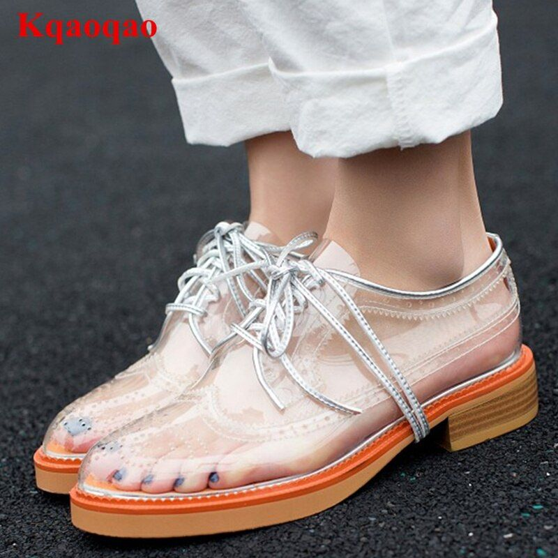 Round Toe Women Shoes Front Lace Up Low Top Transparent Chaussures Femmes Stylish Casual Shoes Low Heel Brand Star Runway Shoes