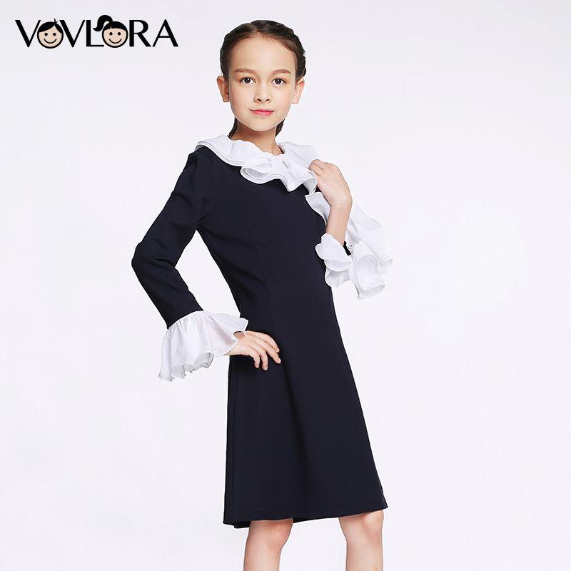 VOVLORA 2017 Детское платье для девочки с длинным рукавом тёмно-синий воротник и манжеты с кружевами на осень высокое качество школьное платье дл...