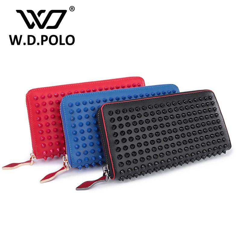 Wdpolo новый цвет рок шпильки Женские Натуральная кожа бумажник высокого Шикарный Бренд Дизайн Lady стандартные кошельки легко сцепления рук ...