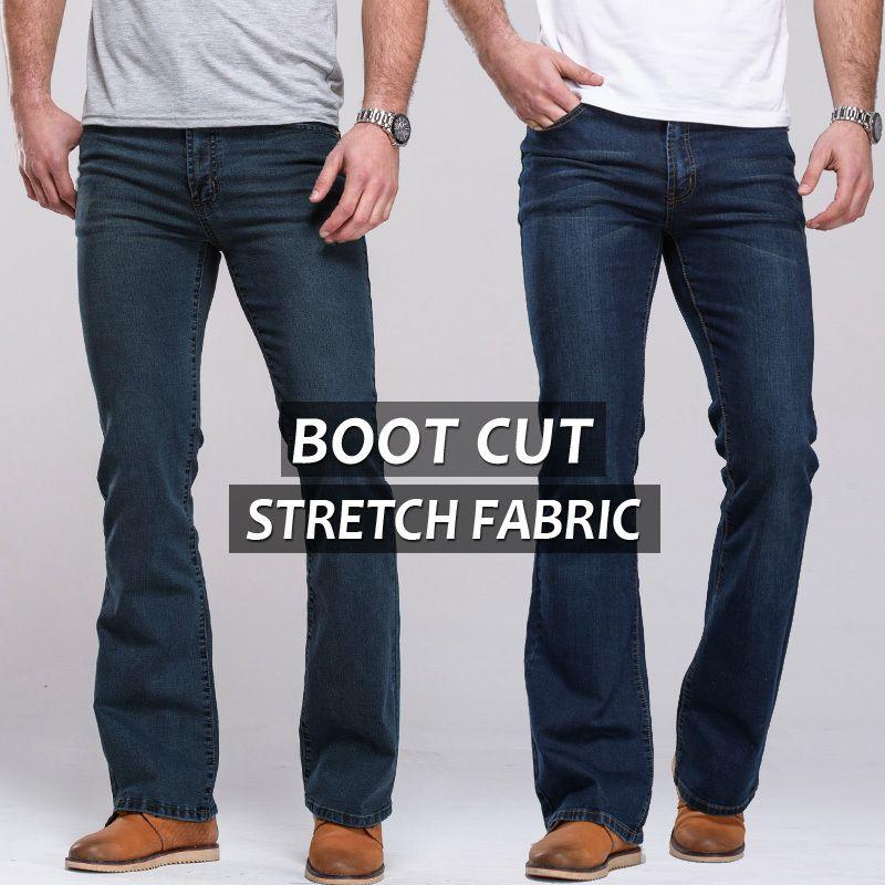 Hommes jeans boot cut jambe légèrement évasée slim fit célèbre marque bleu noir mâle jeans designer classique denim Jeans