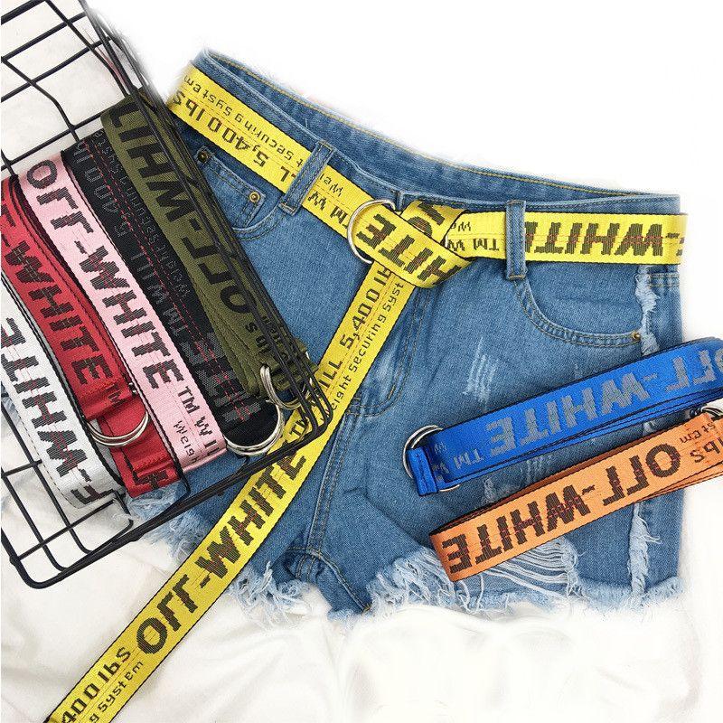 New 7 Colour Punk Luxury Designers With Man High Quality Male Rock Women Jeans Hip-Hop Yellow Nylon Belt