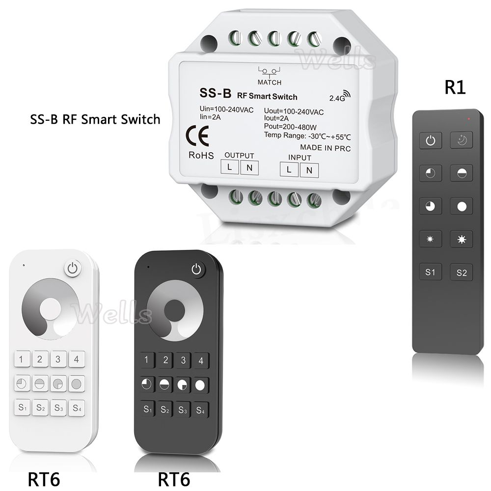 New SS-B S1-B S1-D AC Triac RF Dimmer compatible with 2.4G Remote Controller R1 RT6 led remote