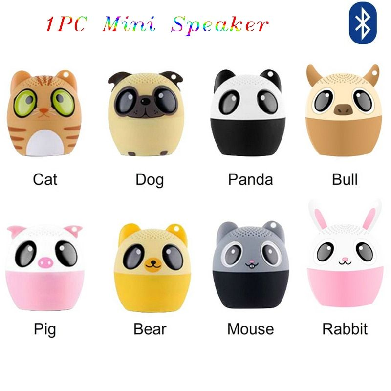 1PC Portable New Car Mini Speaker Computer Phone Cute Animal Bluetooth Full-Range Wireless Speakers With Data Cable Ianyard 5V