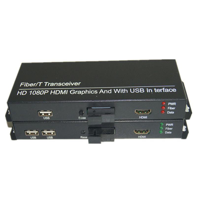 Haute Qualité HD 1080 P HDMI Extender Optique Médias Convertisseurs avec 2 KVM USB2.0, signal HDMI sur Fiber SC port, monomode 20Km