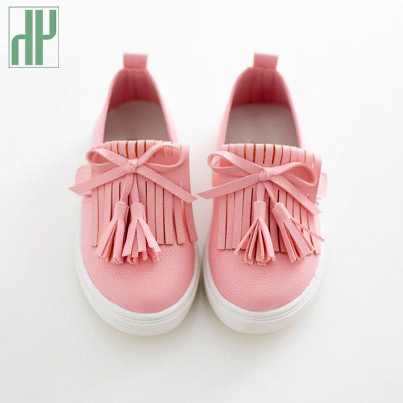 Hh kinder shoes frühling mädchen leder shoes prinzessin quaste wohnungen kinder shoes mädchen niedlichen turnschuhe für kleinkind mädchen trainer