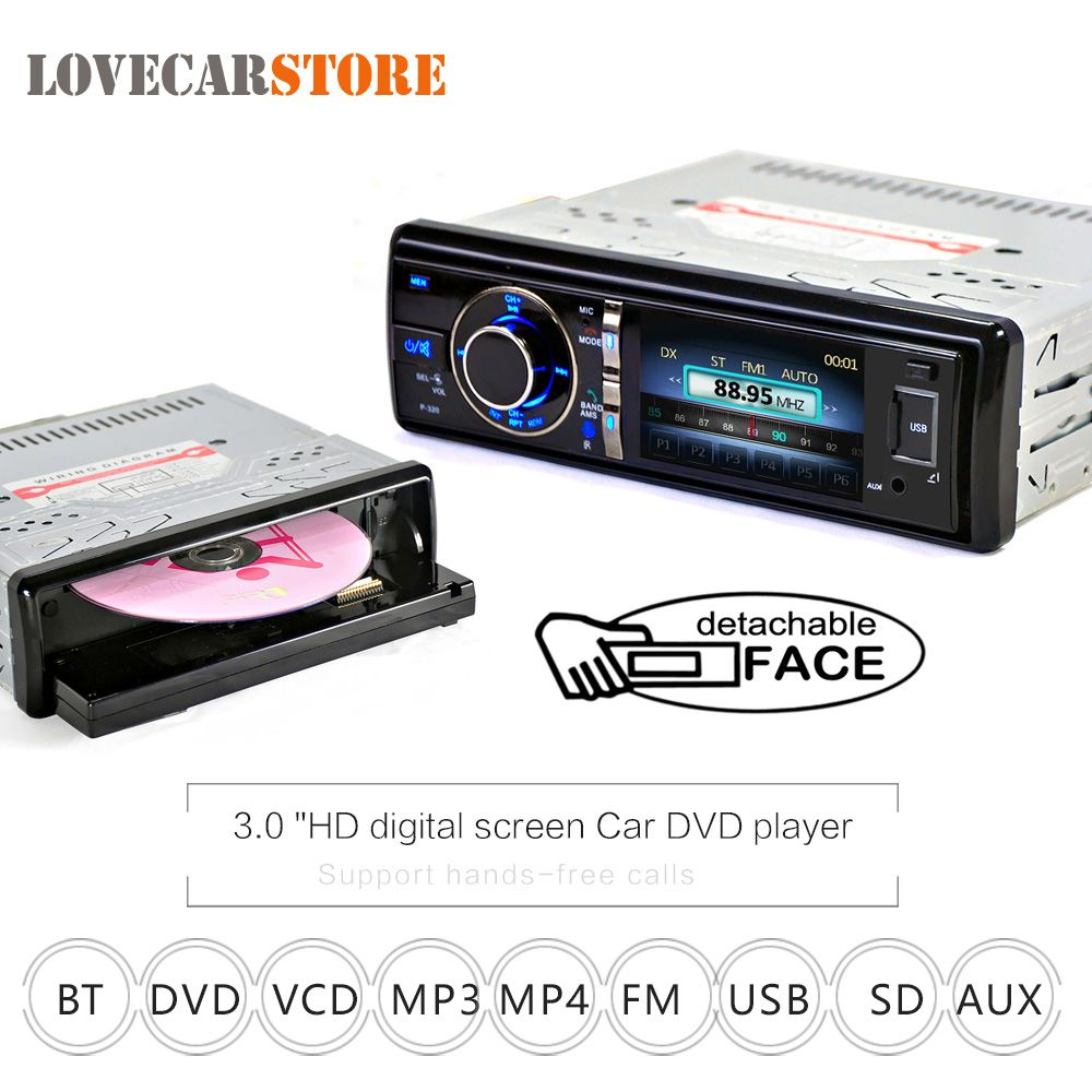 3 Inch 1 Din Bluetooth Auto Car DVD Player Digital Touch Screen with Microphone Detachable Front Panel Support DVD CD SD USB AUX