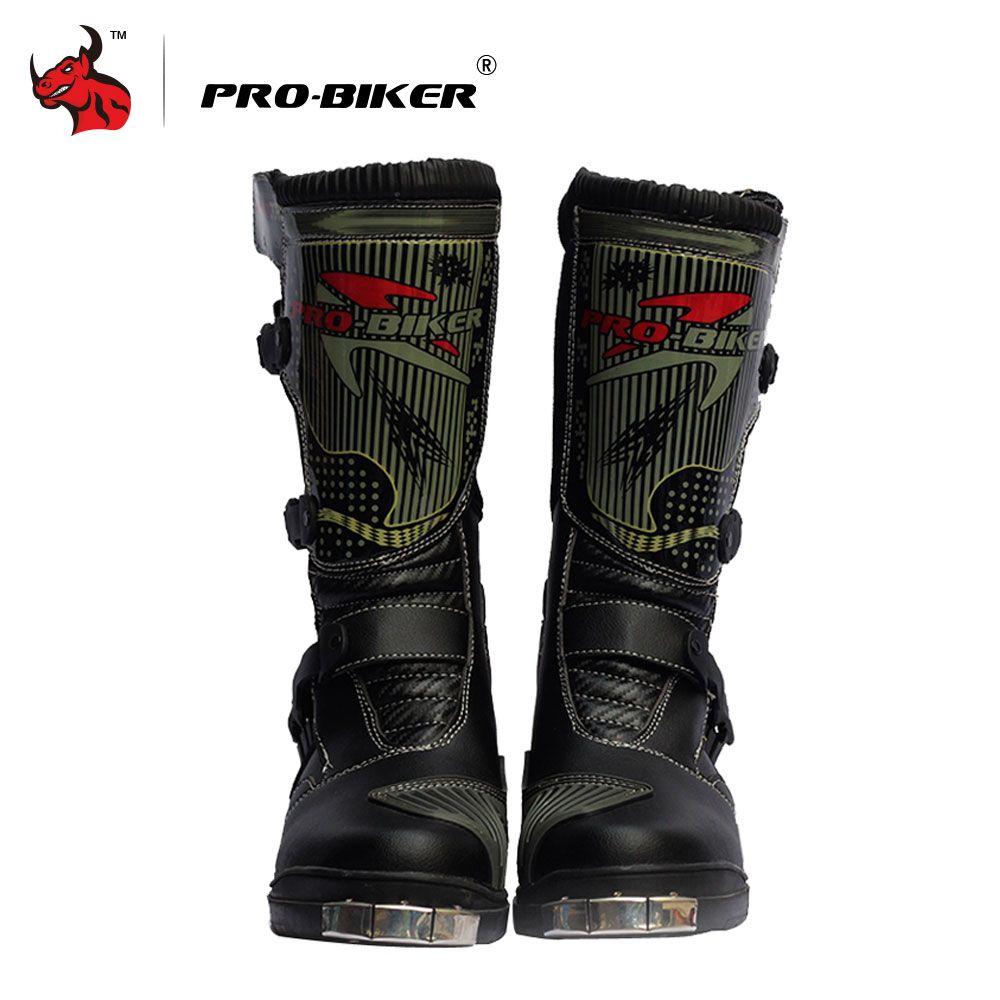PRO-BIKER Motocross Boots Motorcycle SPEED Racing Boots Black Mid-Calf Racing Motocross Mircrofiber Leather Motorcycle Boots