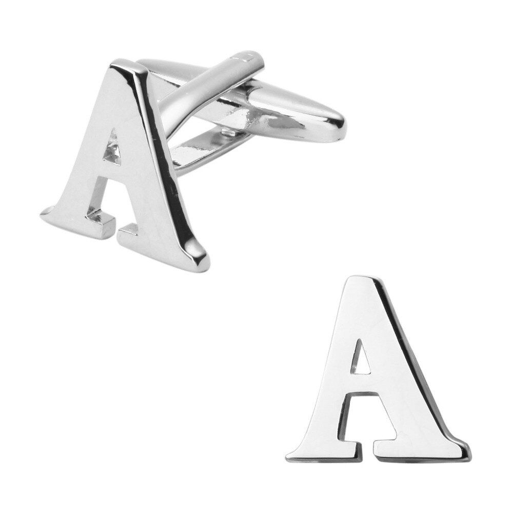 Fashionable man shirt cuff links glossy silver letter A cufflinks English letters cufflinks / 5 on packing/free shipping