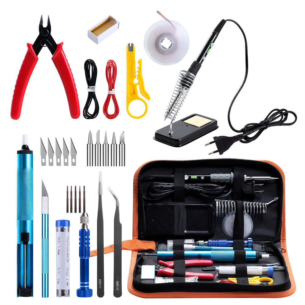 GEYOTAR EU/US Plug 60W Thermoregulator Soldering Iron Kit Desoldering Pump solder wire 5pcs tips Portable Welding Repair Tool