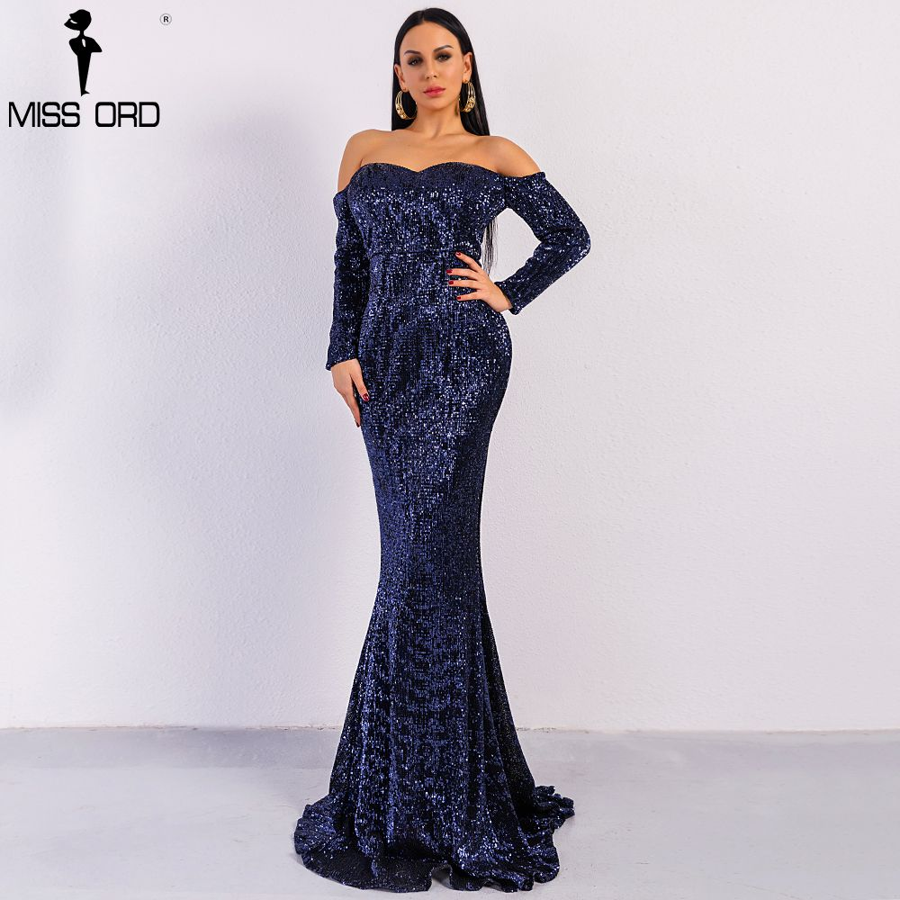 Missord 2018 Sexy BRA Long Sleeve Off Shoulder Sequin Backless Dresses Women Skinny Maxi Party Elegant Dress FT8714
