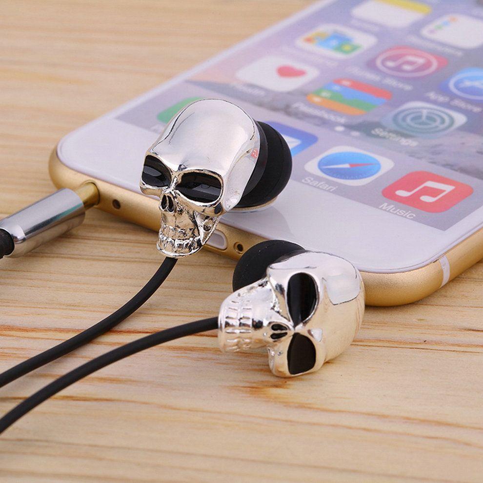 1pc Unique Design 3.5mm In ear earphone High Performance Metal skull headphone, C1