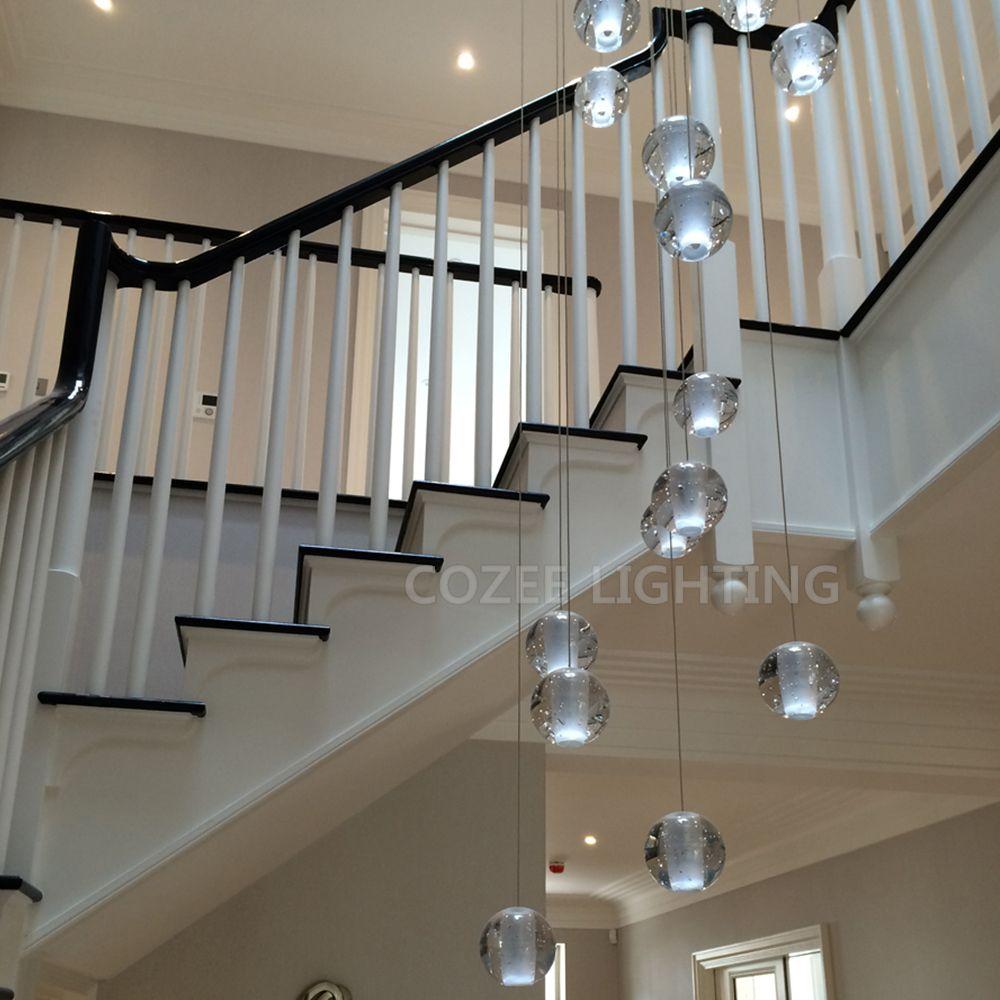 Moderne Lustre En Cristal LED D'éclairage Suspendus Grand Grand Verre Globe Orb Verre Lustres De Luxe Escalier Cristal Lustre Lampe
