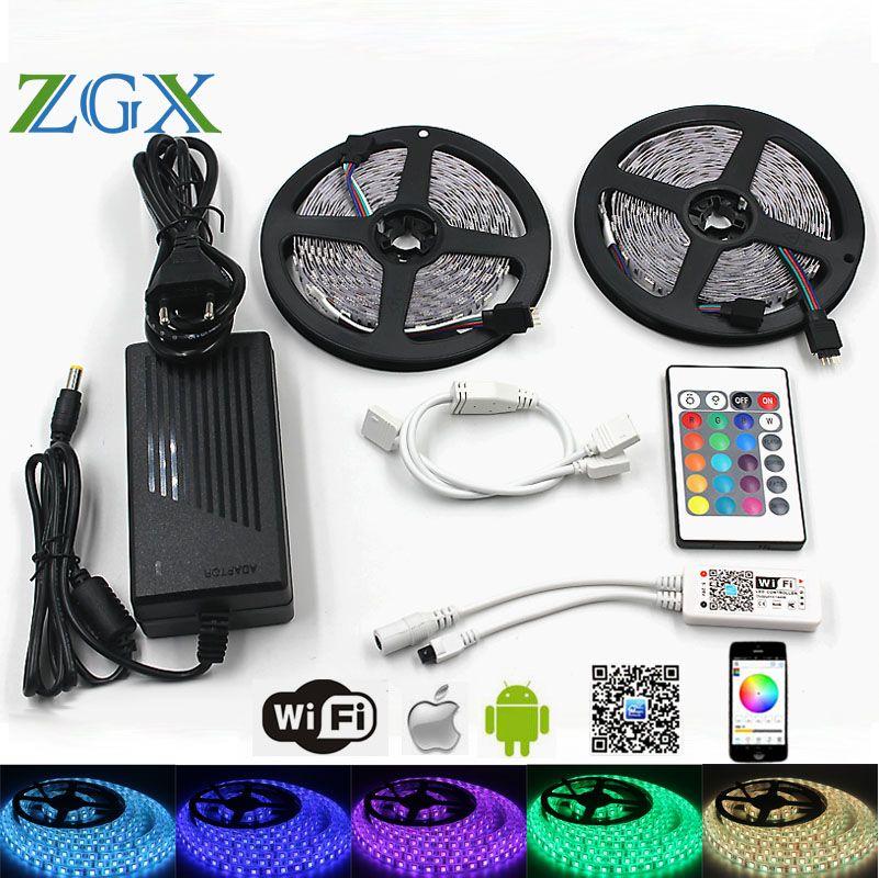 ZGX wifi Controller SMD 5050 RGB IP 20 Waterproof LED Strip Light Flexible 60leds/m led tape diode DC 12V adapter set 220V decto