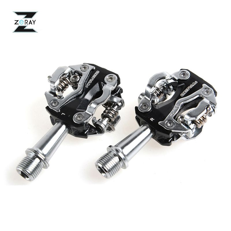 ZERAY MTB Mountain Bike Self-locking Pedals Cycling Clipless Pedals Aluminum Alloy SPD CR-MO Pedals Bicycle Accessories 2 Colors