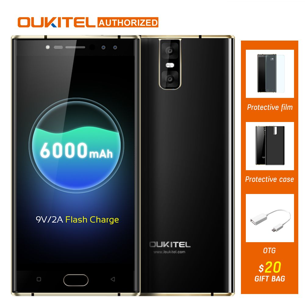 <font><b>OUKITEL</b></font> K3 16.0MP+2.0MP 4 Cameras 4G SmartPhone 6000mAh MTK6750T Octa Core Android 7.0 4G 64G 5.5'' Mobile Cellphone Fingerprint