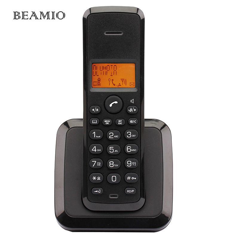 Allemand Langue Sans Fil Téléphone Fixe Téléphone Numérique Sans Fil Téléphone avec Call ID Rétro-Éclairage Noir Telefone Pour Home Office