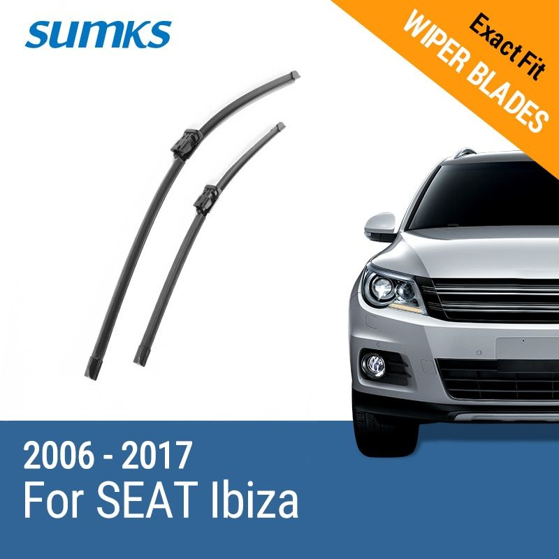 SUMKS Wiper Blades for SEAT Ibiza Fit Push Button Arms 2006 2007 2008 2009 2010 2011 2012 2013 2014 2015 2016 2017