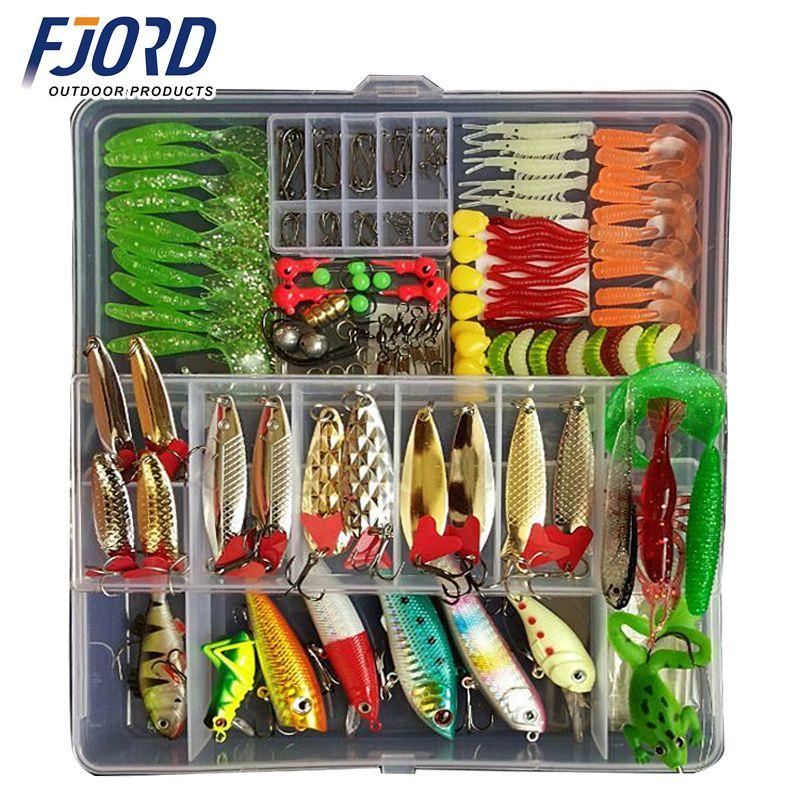 Hot nouveau Multi pêche leurre couleurs mélangées en plastique métal appât doux leurre Kit de pêche Wobbler cuillère Pesca pêche Artificias