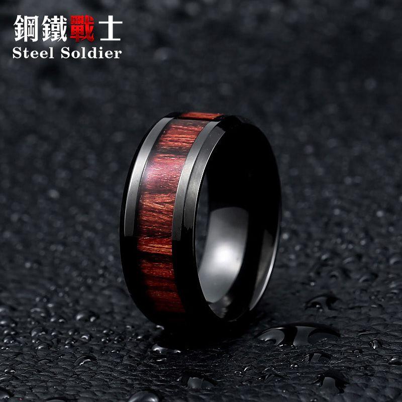 Acier soldat anneau noir avec rouge foncé marqueterie en bois à l'intérieur anneau hommes unique mode de fiançailles bijoux
