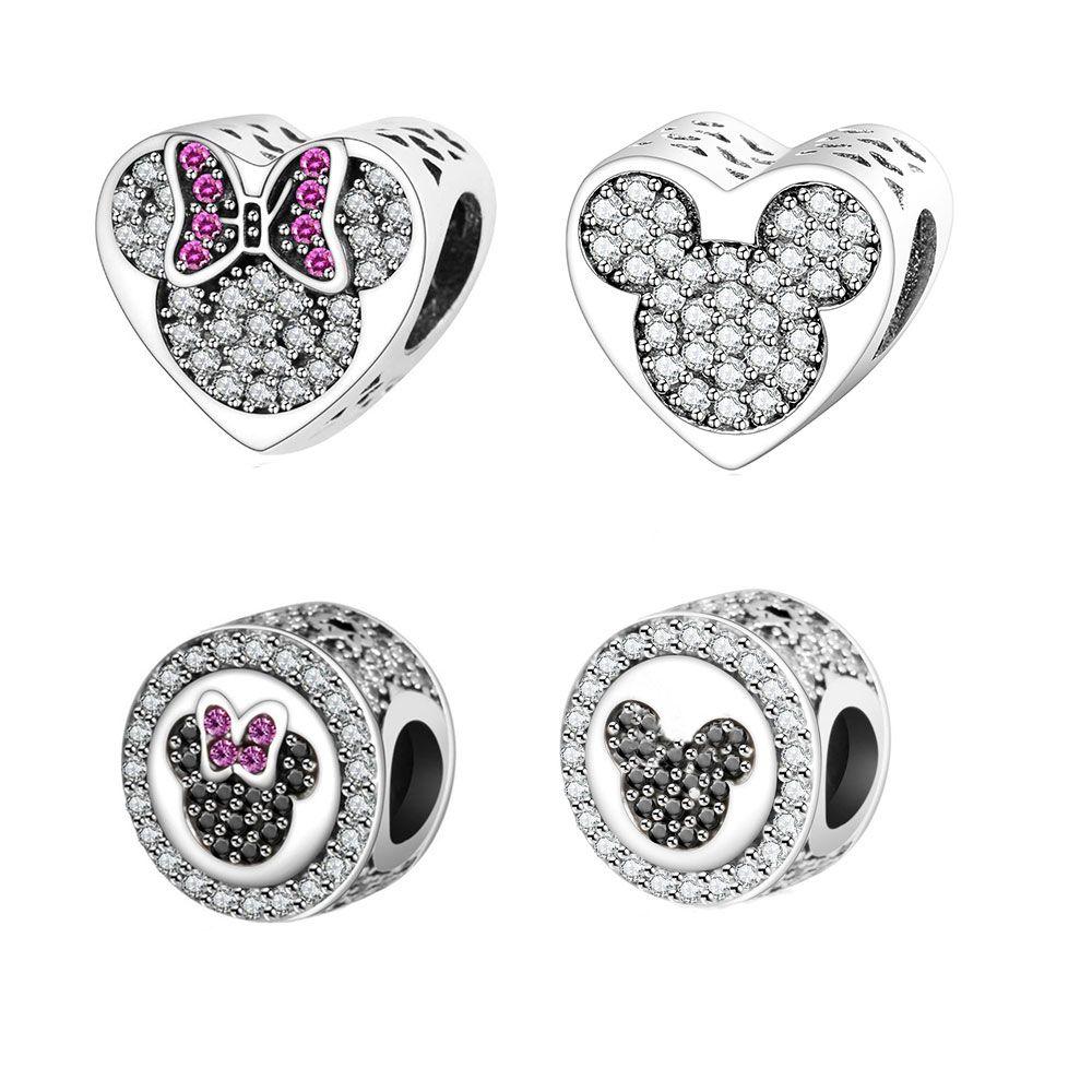 2016 Automne Nouvelle Arrivée 925 Sterling Argent Perles Mickey Minnie Coeur Charme Adapte D'origine Pandora Charms Bracelet DIY Bijoux