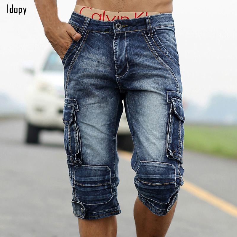 Faded Summer Mens Retro Pantalones Cortos de Mezclilla de La Vendimia Lavada Con Ácido de Carga Multi-bolsillos Militares Estilo Biker Short Jeans Para Hombres