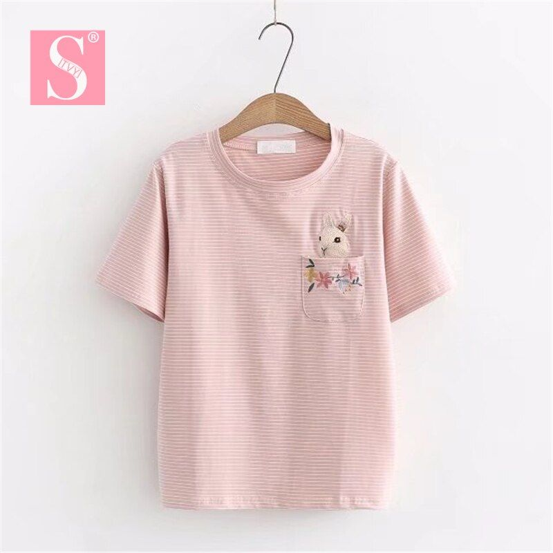 STVY Funny Pocket Flower Rabbit Embroidery T-shirts 2018 Summer Casual Loose <font><b>Stripe</b></font> T-shirts For Women 5 Colors