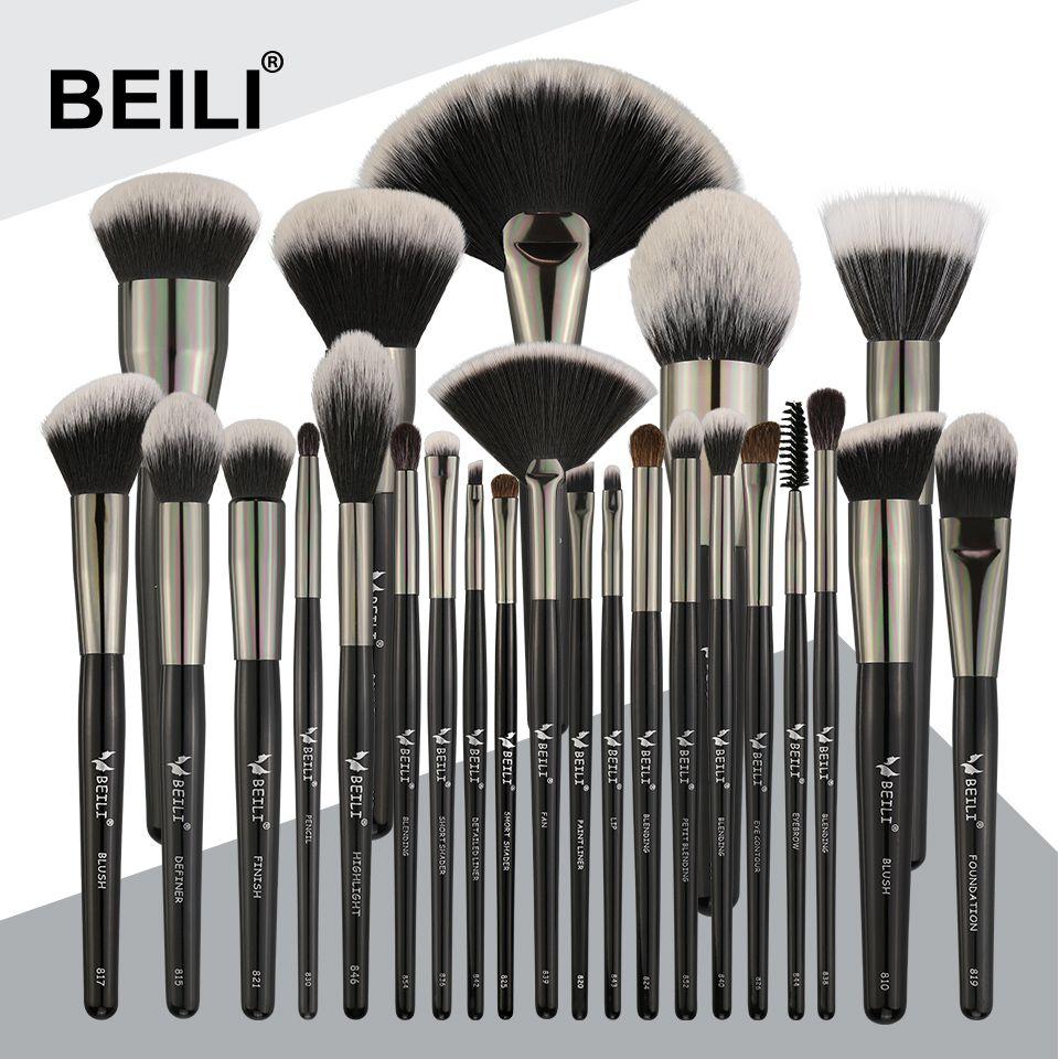 BEILI Schwarz 25 PCS Gesicht Make-Up Pinsel Set Natürliche borsten Synthetische Haar Blending Augenbrauen Concealer Foundation