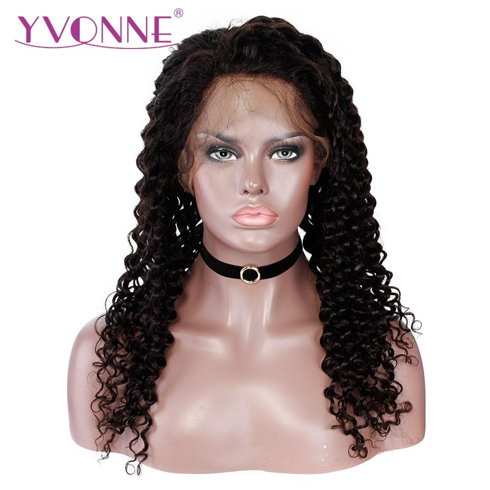 YVONNE Brazilian Deep Wave Full Lace Wigs Human Hair with Baby Hair 180% Density Virgin Human Hair Wig