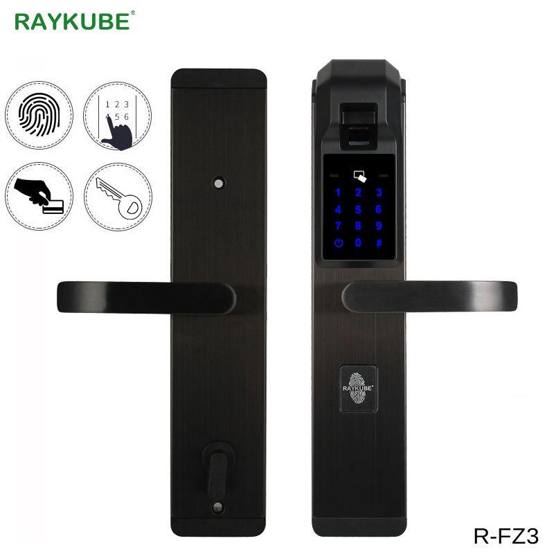 RAYKUBE Elektronische Fingerabdruck Türschloss Hause Diebstahlsicherung Fingerabdrucküberprüfung Intelligente Sperre Mit Passwort RFID R-FZ3