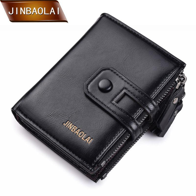 JINBAOLA hommes portefeuille marque portefeuille Double fermeture à glissière et moraillon Design petit portefeuille mâle de haute qualité porte-carte courte porte-monnaie Carteira