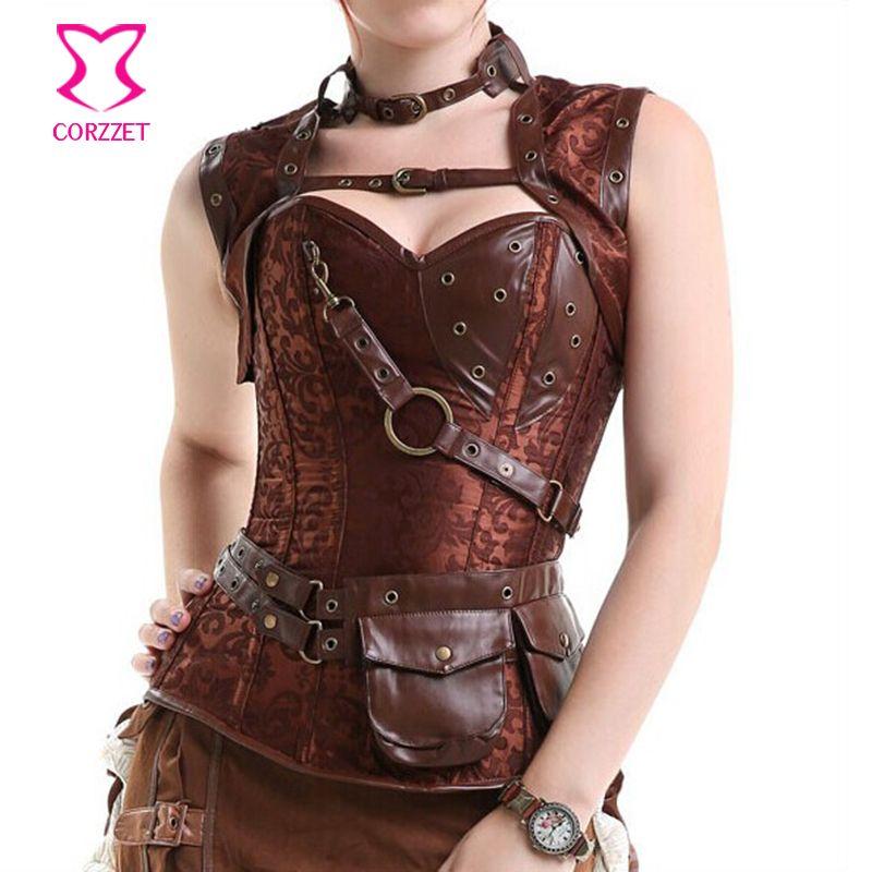 6xl коричневый сексуальные корсеты и бюстье Готический стимпанк Костюмы плюс Размеры корсет бурлеск костюмы corselete feminino Espartilhos