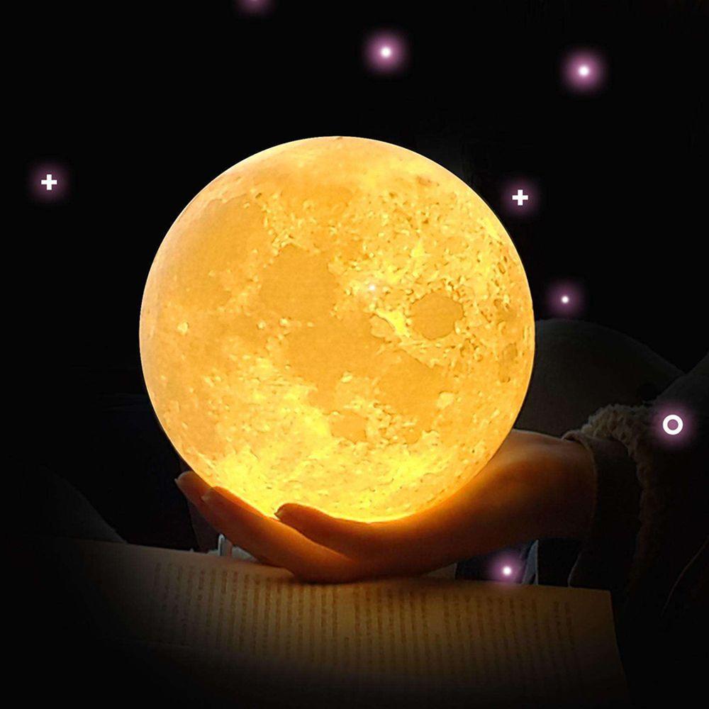 ZINUO Rechargeable Lune Lampe DC5V 3D Impression Lune Nuit Lampe Touch Control Luminosité (Jaune + Blanc) Lune Lumière Creative Cadeaux