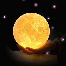 ZINUO Rechargeable Moon Lamp DC5V 3D Print Moon Night Lamp Touch Control Brightness (Yellow+White) Moon Light Creative Gifts