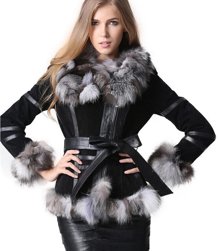 Winter Women's Real Fur Coats Moto & Biker Genuine Leather Coat Fox Fur Collar Plus Size Natural Fur Jackets Women Clothes 2018