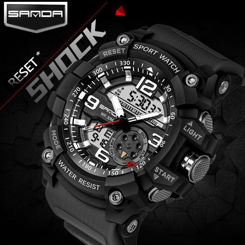 2018 SANDA Mens Sports Watches G Style Military Waterproof Wristwatches Shock <font><b>Analog</b></font> Quartz Digital Watch Men relogio masculino
