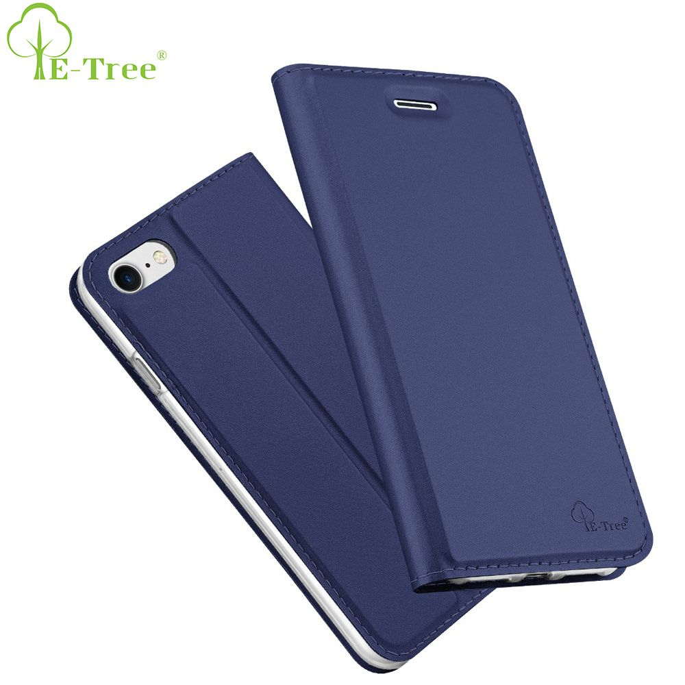 E-Baum Marke ultra slim haut ledertasche für iphone 7 fall flip-cover für iphone 8 mappenkasten abdeckung luxus flip schwarz abdeckung