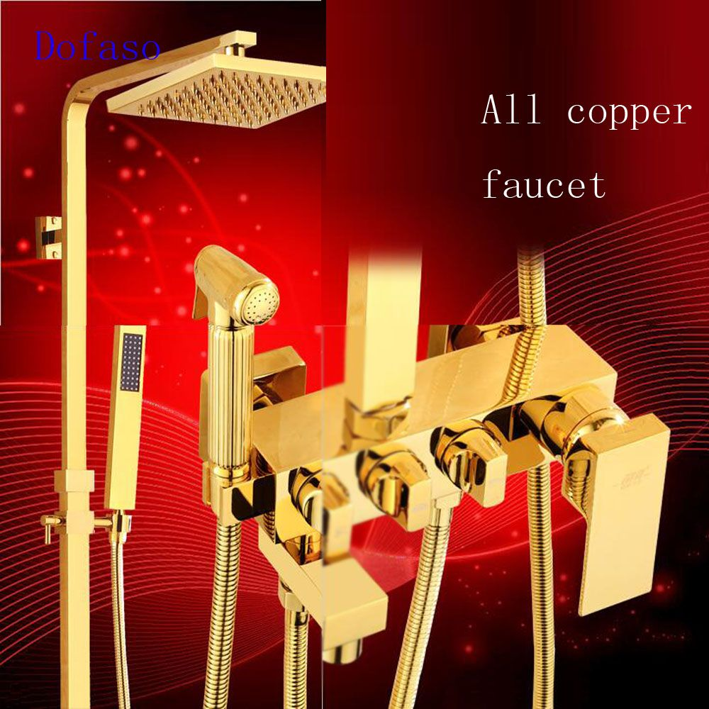 Dofaso retro villa bathroom gold shower faucet wall mounted polished brass golden bath rainfall shower set & Handheld Mixer Tap