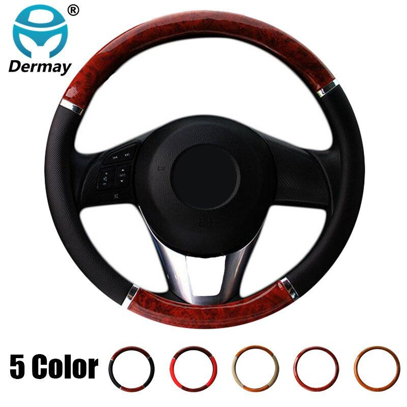 DERMAY 5style Car Wood Steering Wheel Cover Leather Covers Wooden Styling For BMW VW Gol Polo CC Hyundai Kia Nissan Honda Accord