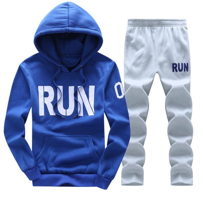Sweatshirt Men Tracksuit Set Sweat New 2017 Brand Autumn Winter 2PCS Stand Collar Fleece Patchwork Casual Mens Suits Hoodie Men